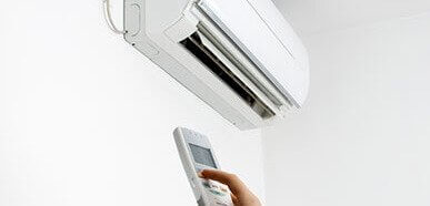 split system air conditioner installed on wall