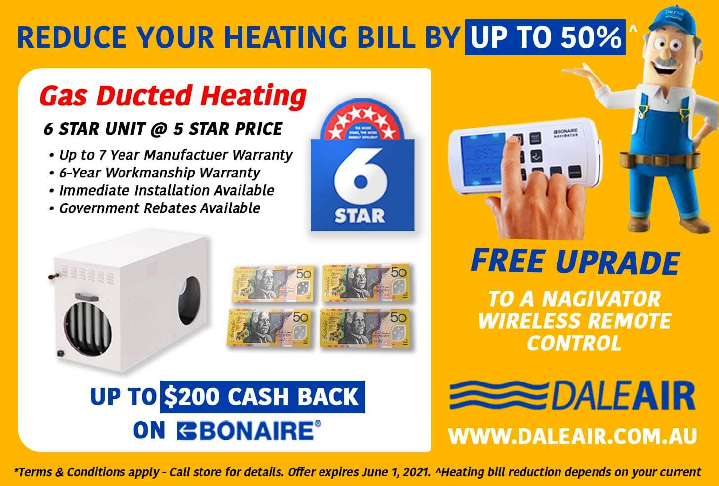 Gas Ducted Heating - Bonaire Offer